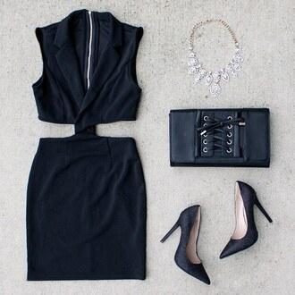 dress mini dress black dress little black dress style fashion style me outfit inspo outfit idea clutch necklace heels black heels gojane