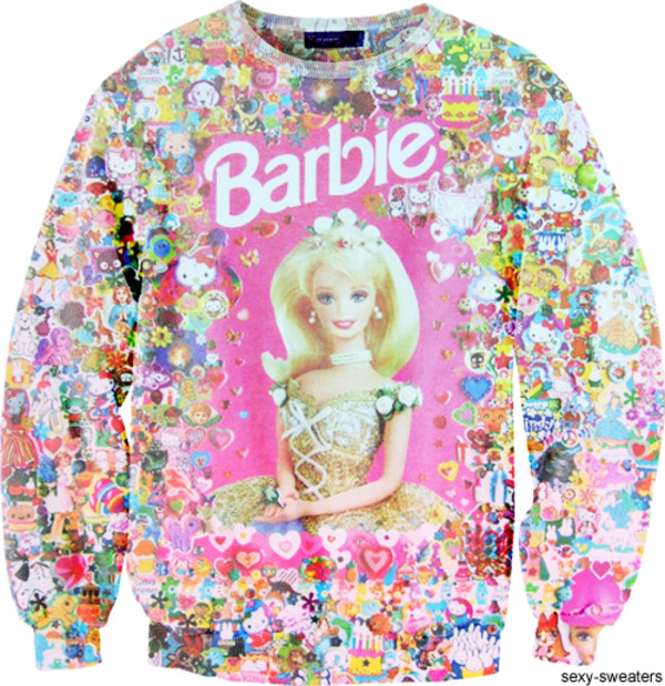 sweater barbie hello kitty pink jumper colorful green white blue skirt