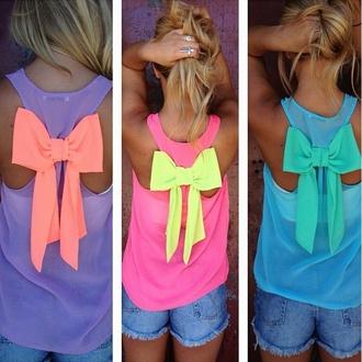 bright yellow blue pink purple sportswear bow t shirt