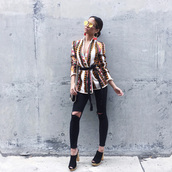 my white t,blogger,jeans,black ripped jeans,spring jacket,printed jacket,waist belt,mirrored sunglasses,mules,print,skinny jeans,black jeans,ripped jeans,suede mule,stacked wood heels