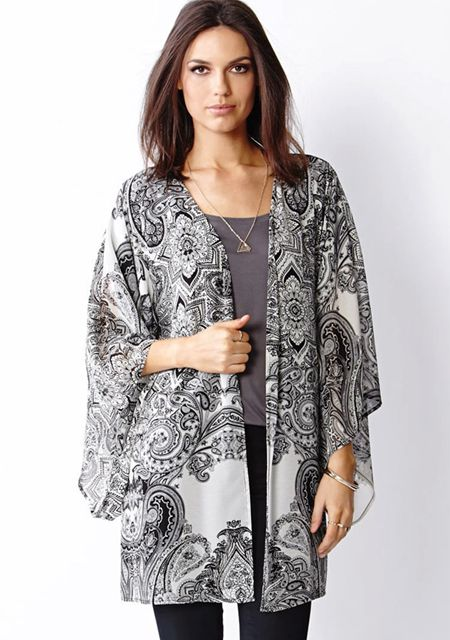 Women's batwing long sleeve vintage printing loose cardigan kimono outwear online