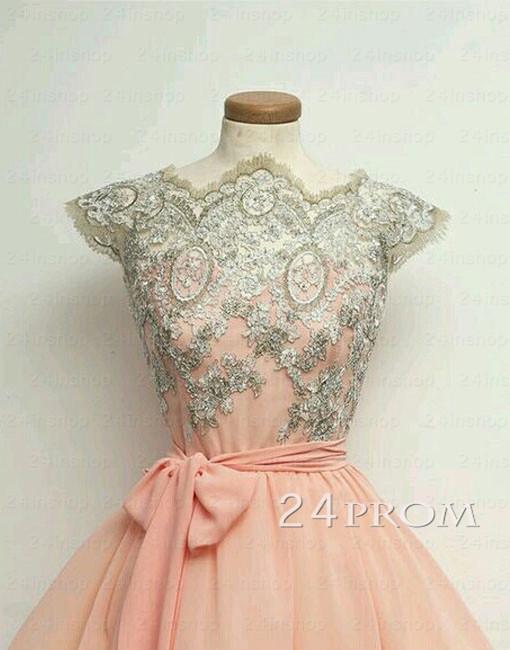 Line chiffon lace short prom dresses