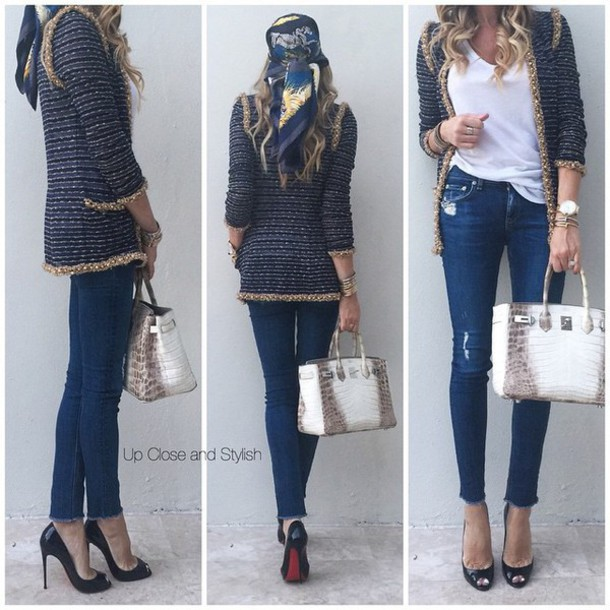 jacket pattern style casual fashion cardigan gold sequins sparkle scarf bag
