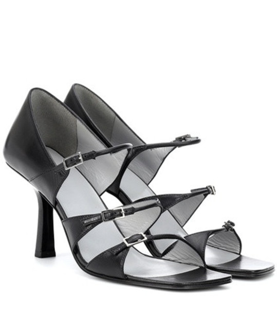 The Row Three Buckles leather sandals in black