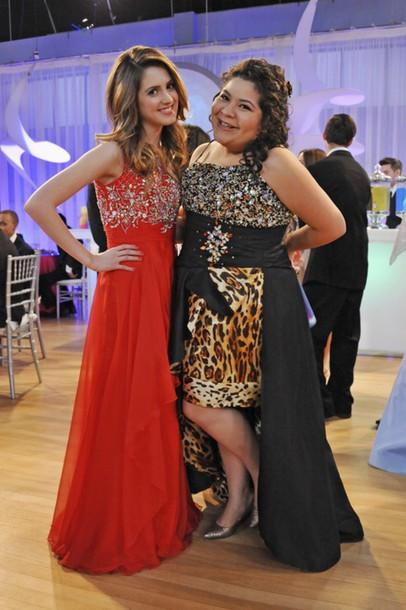 dress austin and ally red trish ally black tiger sparkle prom ball cape  belt disney Disney d2f0ecd9c