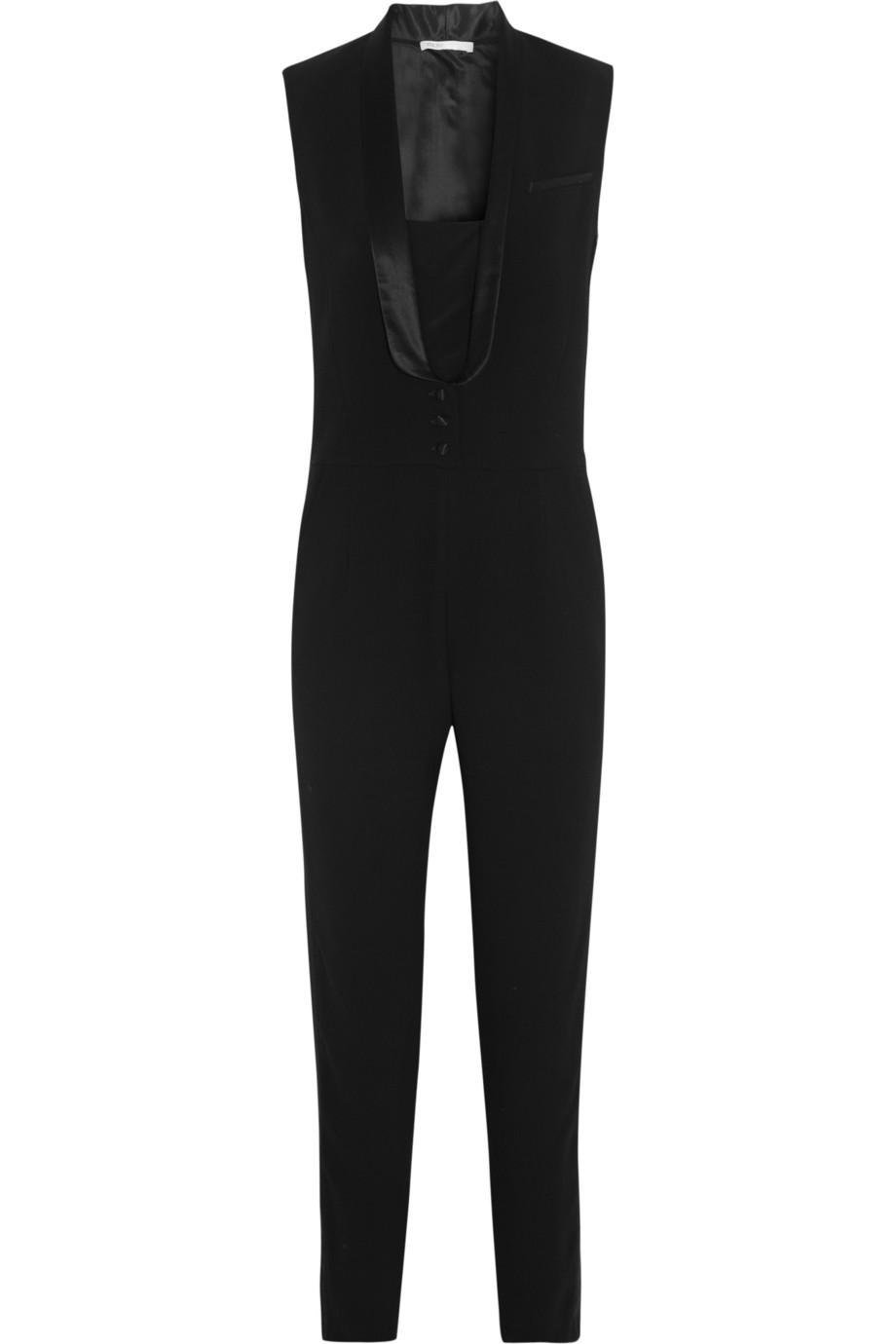 Maje black elfie satin trimmed crepe tuxedo jumpsuit