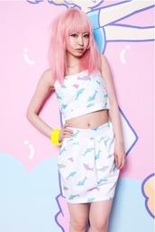 top,dolphin,sea creatures,seapunk,crop tops,white,pastel,pastel pink,pastel blue,pastel green,tumblr,tumblr aesthetic,aesthetic,aesthetic grunge,soft grunge,pale grunge,vaporwave,sea,dress,pink,blue,kawaii,cute,japan,japanese,lolita,harajuku,pattern,sexy,two piece dress set,two-piece