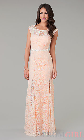 Long Lace Evening Gowns, Lace Trimmed Prom Dresses - PromGirl