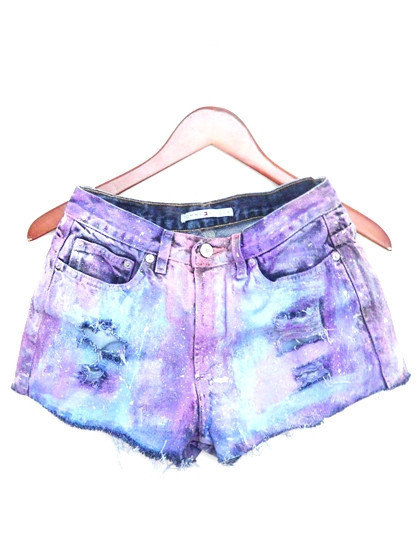 Painted Jean Shorts High Waisted Colorful / Pastel by bambiFALANA