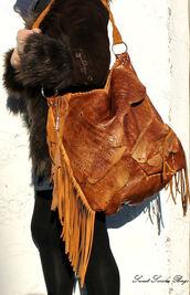 bag,fringe leather bag,fringed bag,fringed leather hobo,aztec bag,navajo bag,gypsy leather bag,asymmetrical,assymetrical leather,fringe leather,embossed leather bag,hipppie bag,festival bag