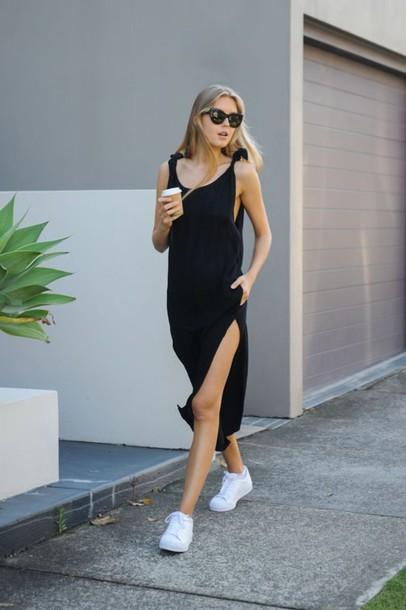 dress, pocket dress, midi dress, black