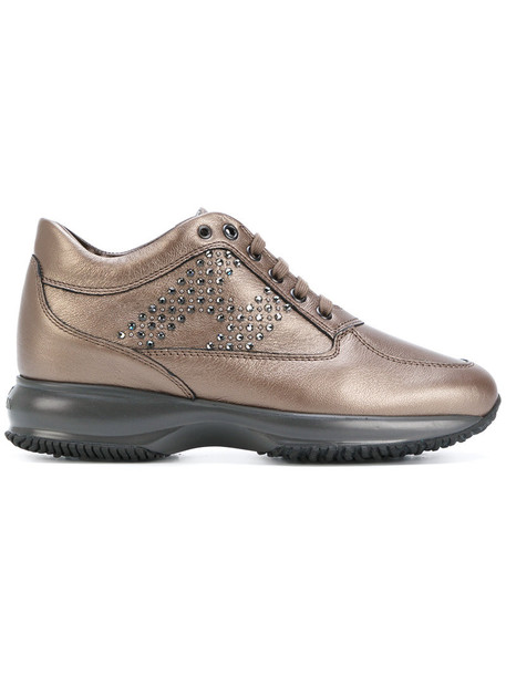 Hogan women embellished sneakers leather brown shoes