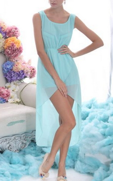 Mint Green Chiffon Asymetrical Dress - Juicy Wardrobe