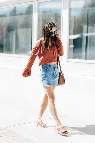skirt tumblr top rust mini skirt denim skirt denim crop tops long sleeves cut-out shoulder top cut out shoulder sandals flat sandals sunglasses spring outfits blouse ruffle blouse platform sandals blogger blogger style crossbody bag