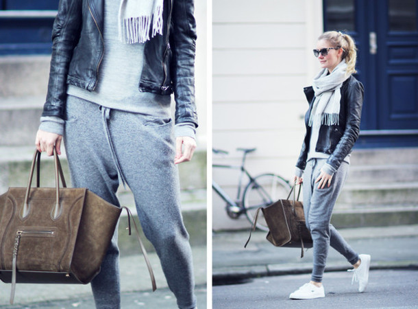 passions for fashion blogger scarf grey sweatpants celine leather bag