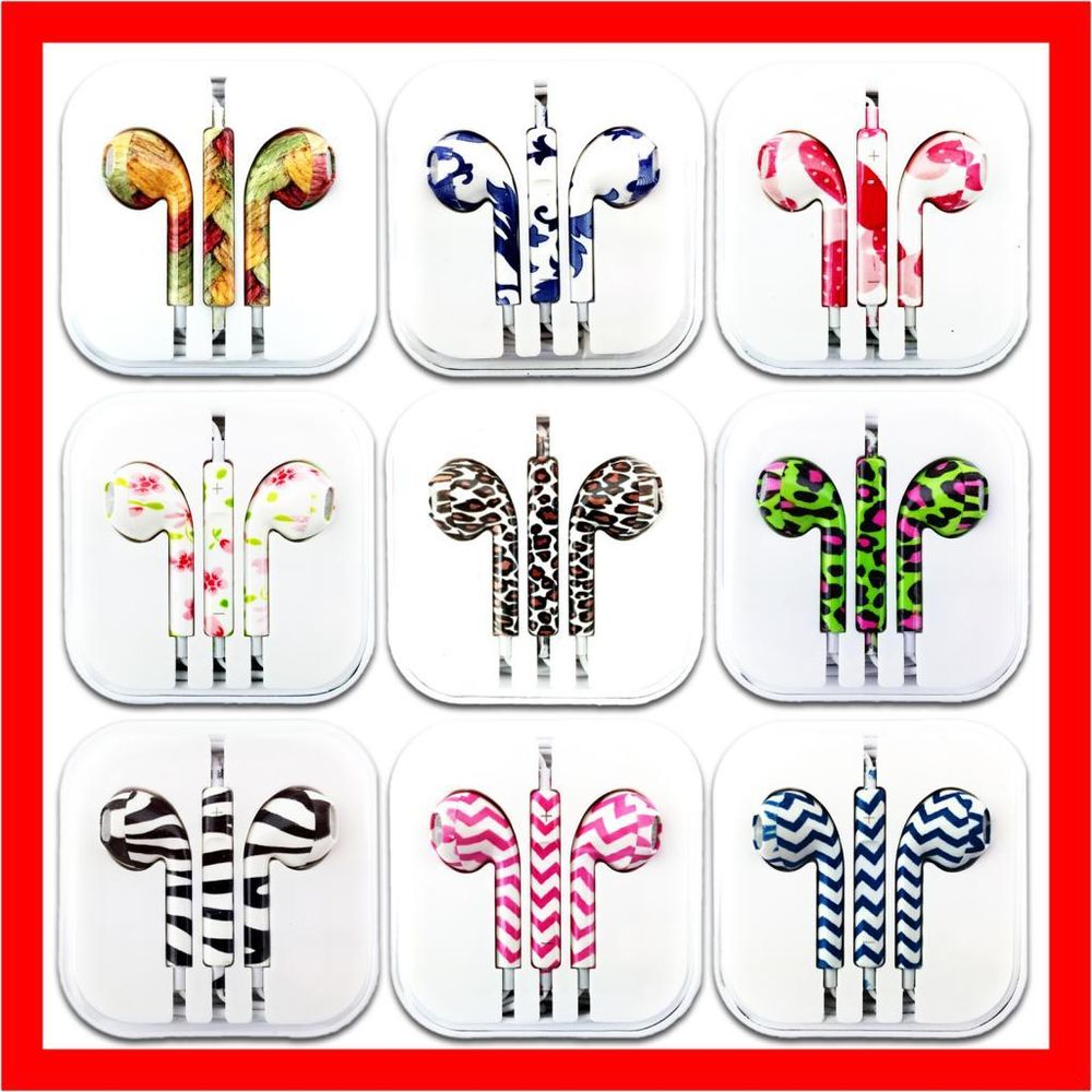 Pattern handsfree headphone earphone remote mic for apple iphone 5s 5c 5 4s ipad