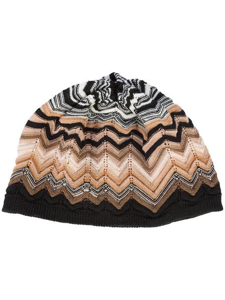 Missoni zigzag knit beanie - Brown