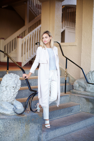 late afternoon blogger classy trench coat mules drawstring pants white pants
