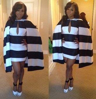 dress black and white dress cape cape