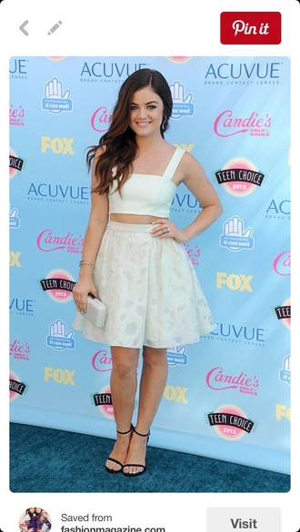 top crop tops floral white lucy hale pretty little liars skater skirt circle skirt cute outfit fashion
