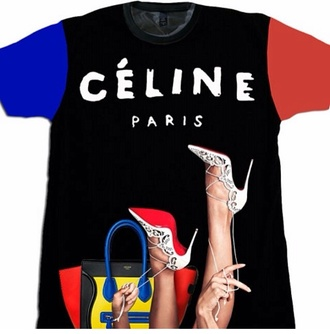black colorblock blue shirt celine paris bag red