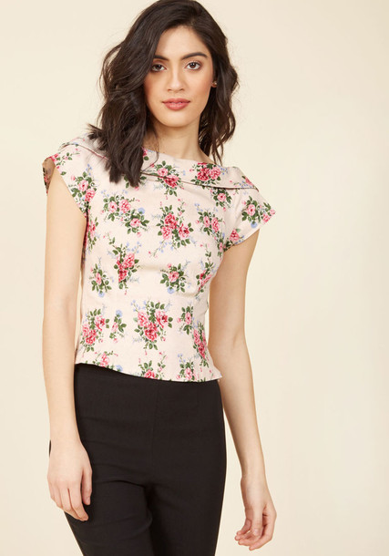 VSS170409A top vintage back long cropped floral print pink
