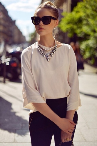 blouse jewels jeans sunglasses recreate audrey statement necklace necklace audrey hepburn classy classic style vogue fashion blogger gold multicolor pink beautiful