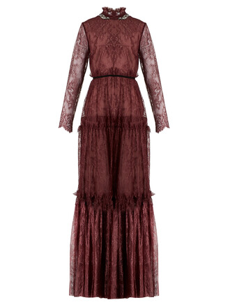 gown embellished lace burgundy dress
