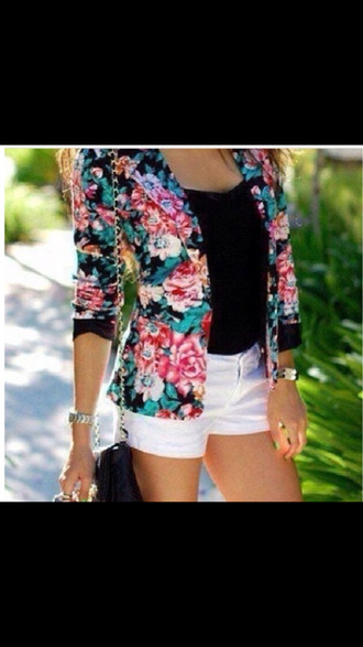 jacket blazer floral blazer spring trends 2014 spring summer 2014 trends fashion style girly blackbarbie tropical 90s style cute outfits chain purse summer trends spring jacket blazer vintage vintage