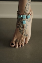 jewels,ankle bracelet,toe ring,toe,ankle cuffs,turquoise jewelry,gold,boho,bohemian,anklet