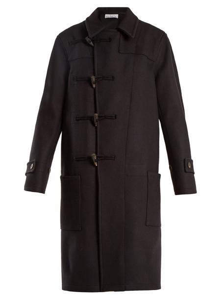 coat duffle coat wool navy