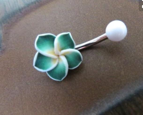 Jewels Belly Button Ring Flowers Green Hawaiian Flower Belly