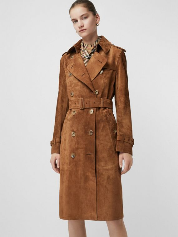 Suede Trench Coat in Sepia Brown - Women | Burberry United Kingdom