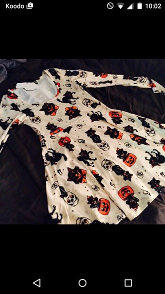 dress halloween vintage clothes pumpkin ghost whitches skeleton black cat cats skull orange retro cute skater dress spooky halloween dress