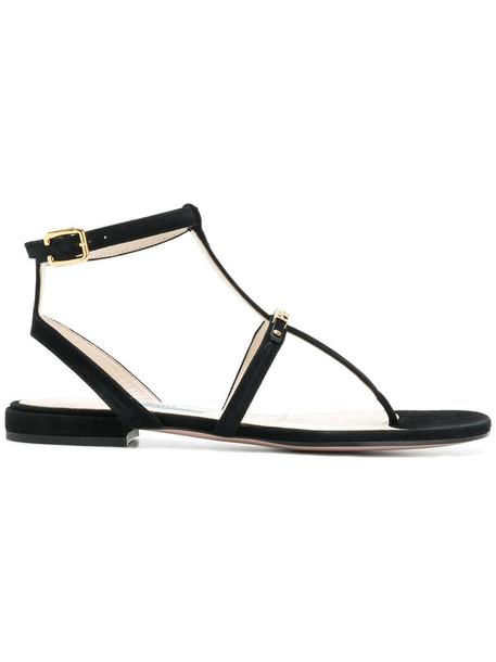 Prada women sandals leather black shoes