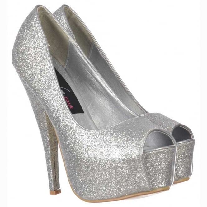 5be15c2516ef Onlineshoe Sparkly Silver Glitter Peep Toe Stiletto Concealed ...