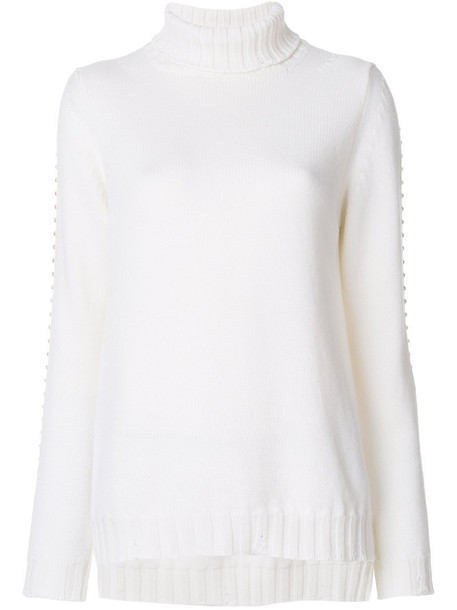 P.A.R.O.S.H. P.A.R.O.S.H. - studded sleeve roll neck sweater - women - Wool - S, White, Wool