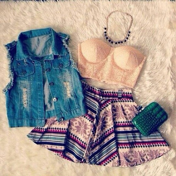 shirt denim vest peach bustier tribal skirt