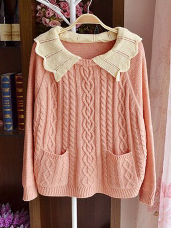 dolly girly preppy sweater cute sweaters pink sweater peter pan collar help me find winter sweater winter outfits