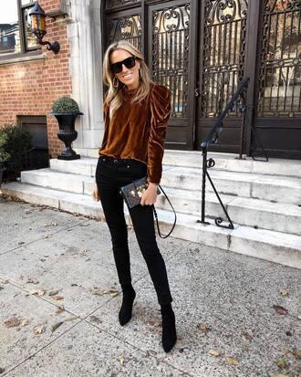 top tumblr velvet velvet top denim jeans black jeans skinny jeans boots black boots ankle boots sunglasses bag