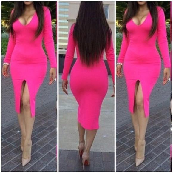 dress long sleeve dress pink dress pink hot pink hot pink dress leg slit leg slit dress bodycon dress bodycon long sleeve bodycon dress