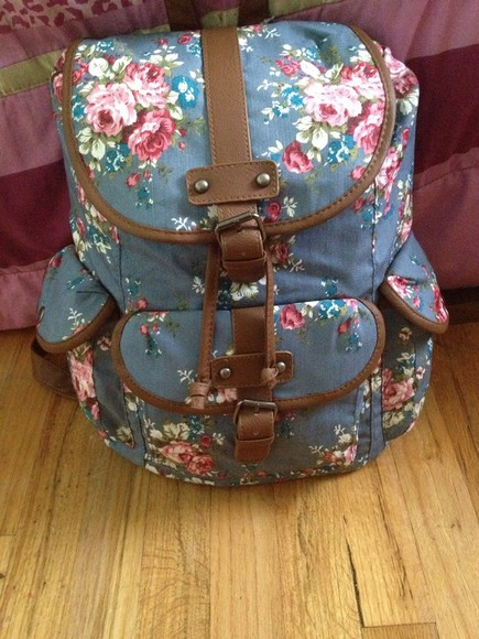 bag tumblr cute bookbag floral
