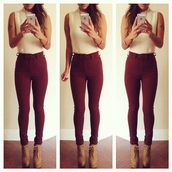 top,style,earrings,skinny pants,winter boots,streetstyle,burgundy,lace up boots,red jeans,jumpsuit