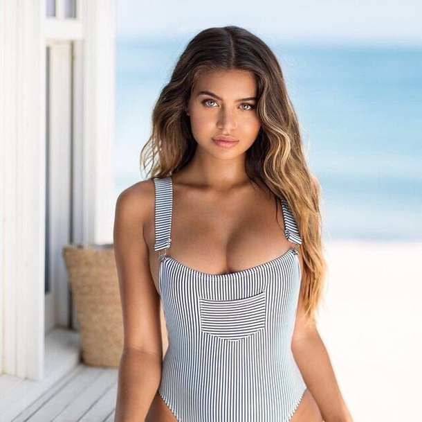 swimwear stripes blue white