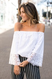 top,white top,off the shoulder,off the shoulder top,embroidered