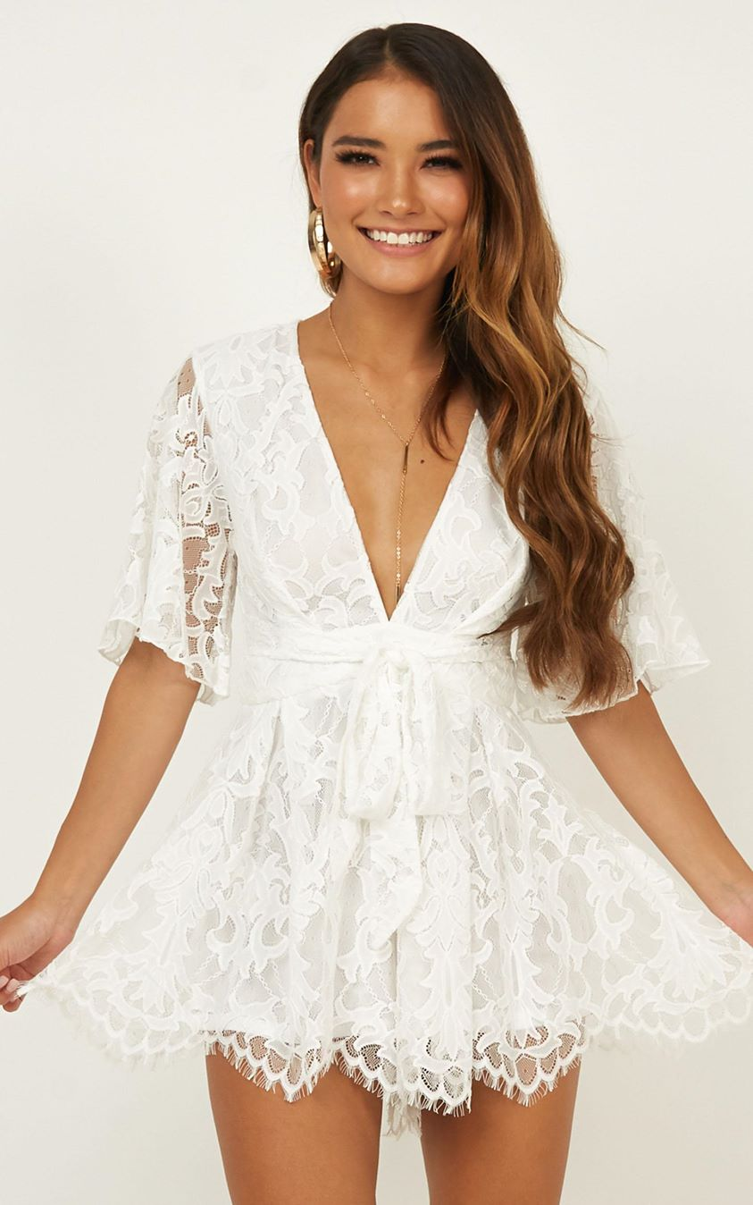 Showpo New World Playsuit in white lace - 4 (XXS) Engagement Dresses