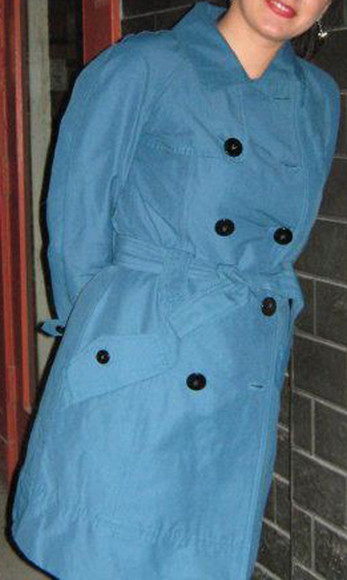coat trench long raincoat blue