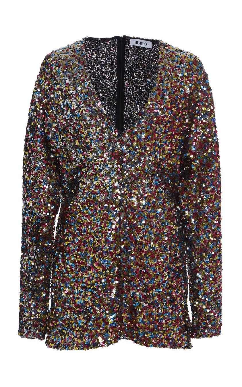 Attico Sequined Mesh Mini Dress Size: 36