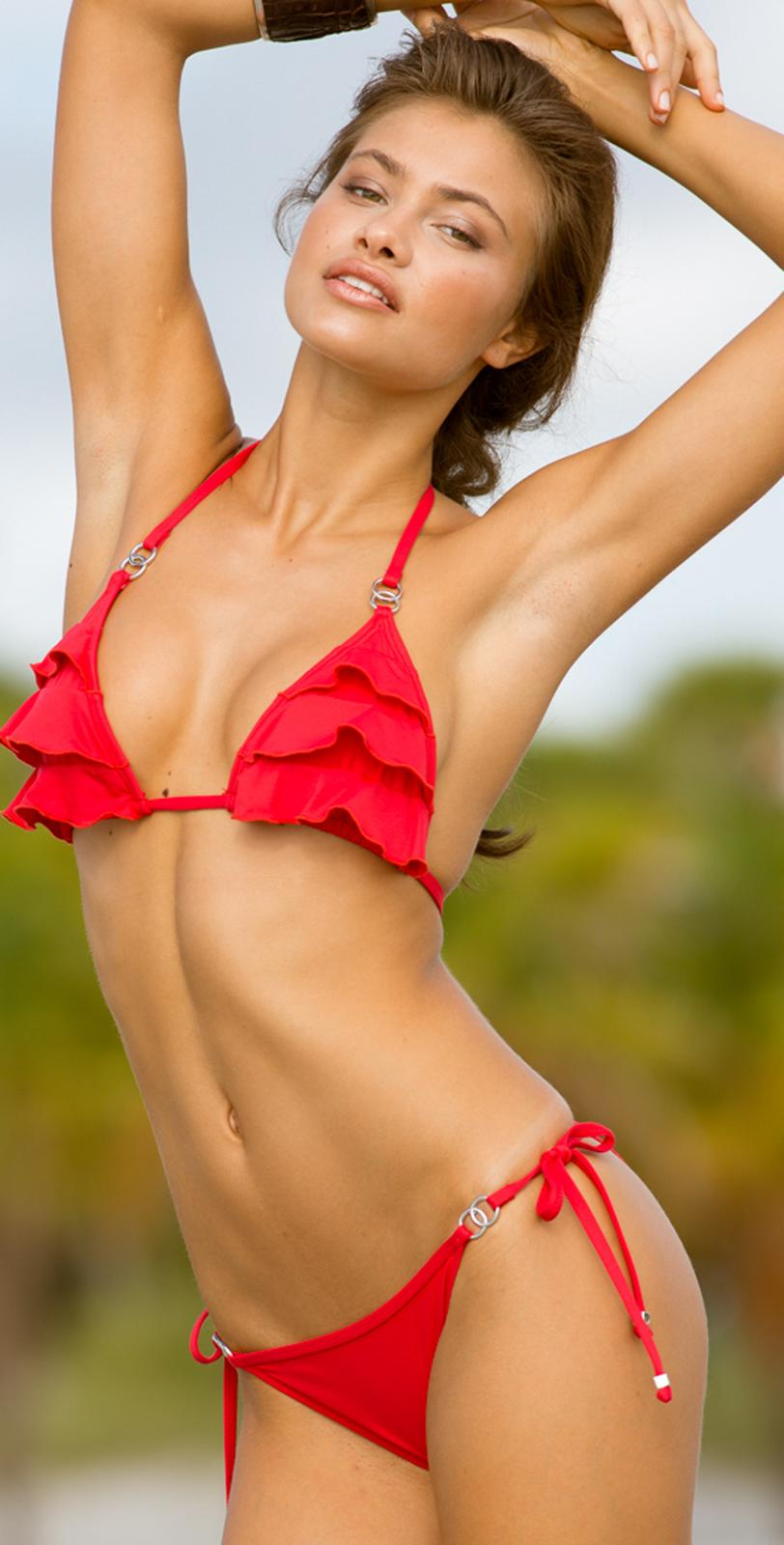 Letarte 2014 Candy Reef Ruffle Red Bikini  | Southbeachswimsuits