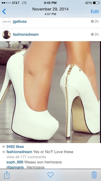 shoes white gold zip heels high heels white high heels